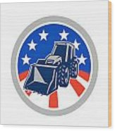 American Mechanical Digger Excavator Circle Wood Print by Aloysius Patrimonio