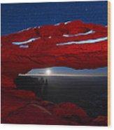 American Moonrise Wood Print