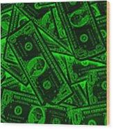 American One Dollar Bills Pop Art Wood Print