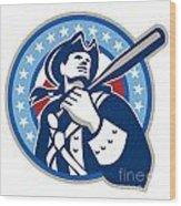 American Patriot Baseball Bat Retro Wood Print