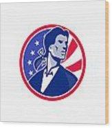American Patriot Minuteman Stars Stripes Flag Wood Print