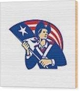 American Patriot Minuteman With Flag Retro Wood Print