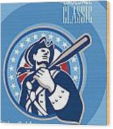 American Patriot Pro Baseball Classic Poster Retro Wood Print