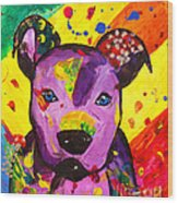 American Pitbull Terrier Dog Pop Art Wood Print