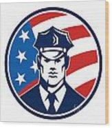 American Policeman Security Guard Retro Wood Print