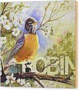 American Robin And Wild Plum Wood Print