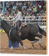 American Rodeo Female Barrel Racer Dark Horse I Wood Print by Sally Rockefeller