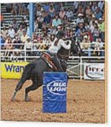 American Rodeo Female Barrel Racer Dark Horse Iv Wood Print