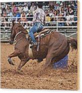 American Rodeo Female Barrel Racer White Blaze Chestnut Horse IIi Wood Print
