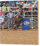 American Rodeo Female Barrel Racer White Blaze Chestnut Horse Iv Wood Print by Sally Rockefeller