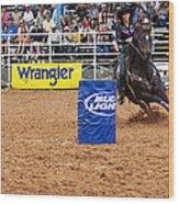 American Rodeo Female Barrel Racer White Star Horse I Wood Print by Sally Rockefeller