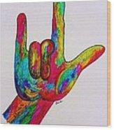American Sign Language I Love You Wood Print