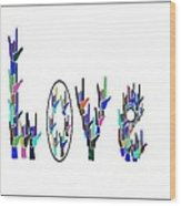 American Sign Language I Love You On White Wood Print