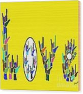 American Sign Language Love Hands Wood Print