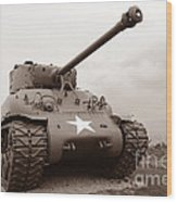 American Tank Wood Print by Olivier Le Queinec