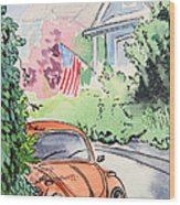 American Town Wood Print