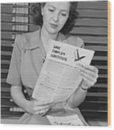 American Woman Reads A Government Wood Print