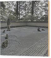 American Zen Rock And Raked Gravel Garden - Portland Oregon Wood Print