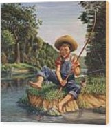 Americana - Country Boy Fishing In River Landscape - Square Format Image Wood Print