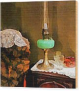 Americana - Still Life With Hurricane Lamp Wood Print