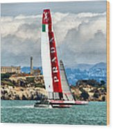 America's Cup And Alcatraz Ll Wood Print
