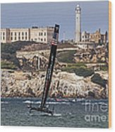 Americas Cup Oracle Team And Alcatraz Wood Print
