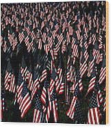 Field Of Flags - Sturbridge Mass. Wood Print
