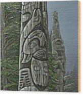 Amid The Mist - Totems Wood Print by Elaine Booth-Kallweit