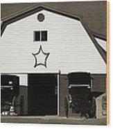 Amish Barn And Buggies Wood Print