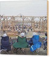 Amish Barn Raising Wood Print