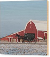 Amish Buggy And Red Barn Wood Print