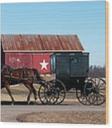 Amish Buggy And Star Barn Wood Print