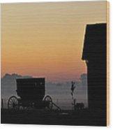 Amish Buggy Before Dawn Wood Print