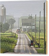 Amish Buggy Confronts The Modern World Wood Print