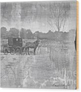 Amish Buggy In Old Book Wood Print