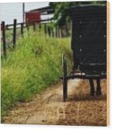 Amish Buggy On Dirt Road Wood Print