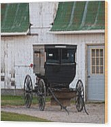 Amish Buggy White Barn Wood Print