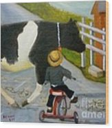 Amish Cattle Crossing Wood Print