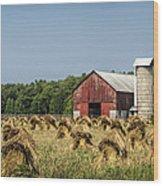 Amish Country Wheat Stacks And Barn Wood Print