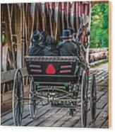 Amish Family On Covered Bridge Wood Print by Gene Sherrill