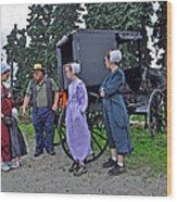 Amish Family Travelers Wood Print