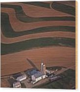 Amish Farm And Field Aerial Wood Print by Blair Seitz