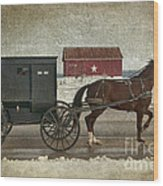 Amish Horse And Buggy And The Star Barn Wood Print