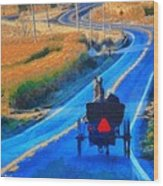 Amish Horse And Buggy In Autumn Wood Print