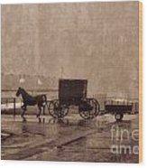 Amish Horse And Buggy With Wagon Bw Wood Print