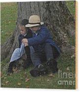 Amish Kids Wood Print by R A W M