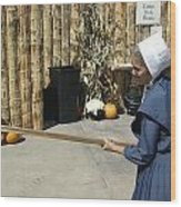 Amish Making Apple Butter Wood Print