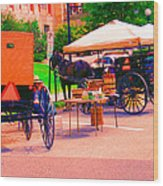 Amish Market. Wood Print