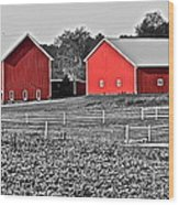 Amish Red Barn And Farm Wood Print