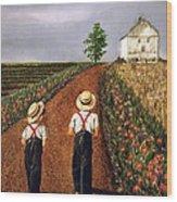 Amish Road Wood Print by Linda Simon
